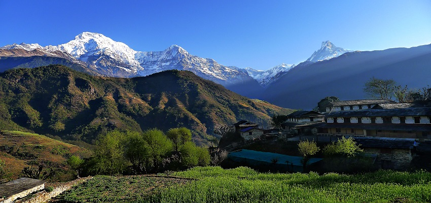 View of Annapurna Himalaya from Ghandruk