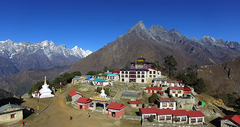 aerial view of nepalese tengboche monastery kongde ri mountain on background sllziyyml thumbnail full